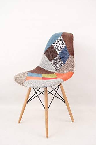 MOF Patchwork Chair Dining Chair or Office Chair or Occasional Chair Beautiful Fabric Combination modern Retro Chair (WITHOUT ARMS) (2)
