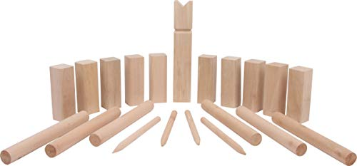 Small Foot 4916 Wurfspiel Wikingerspiel Kubb Familiengröße, 100% Naturholz mit Tragenetz und Anleitung