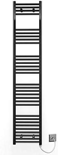 Myhomeware 350mm Wide Black Flat Electric Pre-Filled Heated Towel Rail Radiator For Bathroom Designer UK Alyssa 350 * 400mm Electric Black