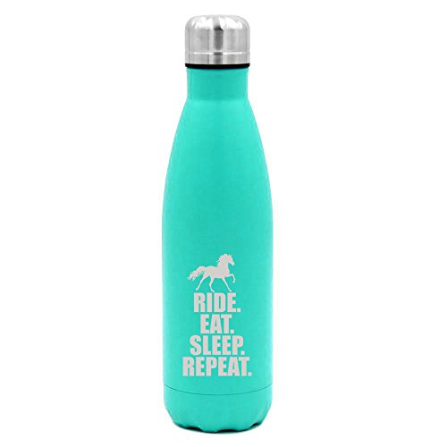 17 oz. Double Wall Vacuum Insulated Stainless Steel Water Bottle Travel Mug Cup Horse Ride Eat Sleep Repeat (Light-Blue)