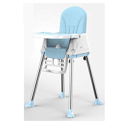 Mobiele hoge stoel kinderstoel met veiligheidsgordel, opvouwbare draagbare hoge stoel voor eten, camping, strand, gazon Blauw