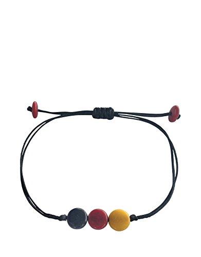 Deutschland Fan Armband Pitri (Germany), schwarz rot gold, Damen Herren Unisex, Fussball WM 2018, Fanartikel, Fairtrade und nachhaltig