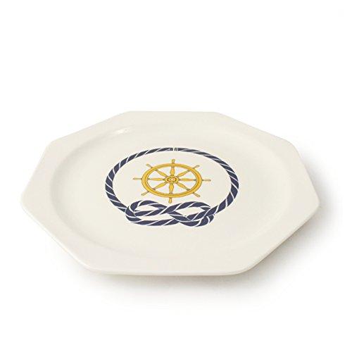 Cartaffini – Assiette plate Timone octogonale en mélamine, 24 x 24 cm – Blanc ivoire