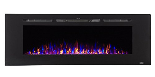 Touchstone 80011 Sideline in-Wall Recessed Electric Fireplace, 60 Inch Wide, 3 Colors, 1500/750 Watt Heater (Black)