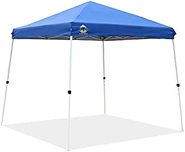 CROWN SHADES Patented 10ft x 10ft Base and 8ft x 8ft Top Slant Leg Outdoor Pop up Portable Shade Instant Folding Canopy with