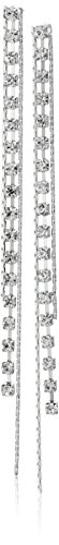 "GUESS ""Basic"" Silver Crystal Rhinestone Linear Drop Earrings"