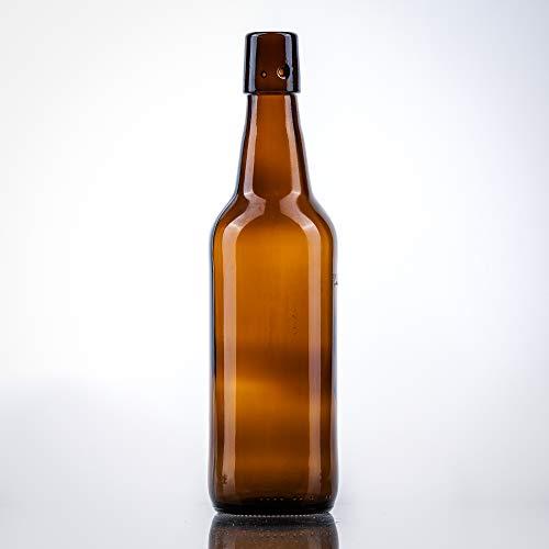 12 x Bierflaschen 500 ml braun inkl. passenden Bügelverschluss – 12 Glasflaschen 500ml im Bundle perfekt geeignet als Einmachflaschen 500 ml, Schnapsflaschen 500ml.