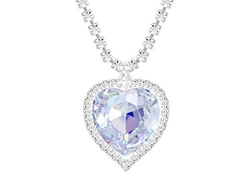 Preciosa Damen Halskette Herz mit Bohemian Kristall (Weiß, 41 cm) - Hochwertiges Collier in einem edlen Etui - Kette Damen - Ideale Geschenkidee für Sie für den besonderen Anlass