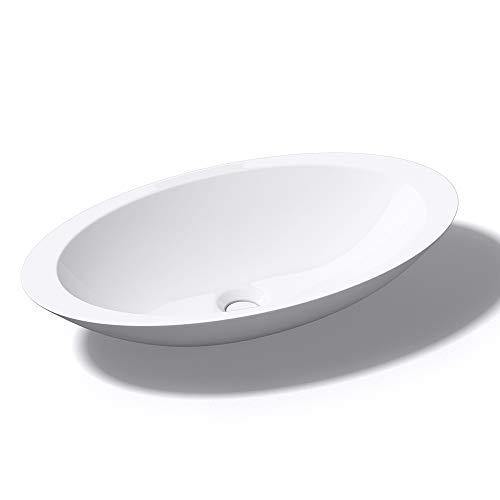 Mai & Mai Aufsatzwaschbecken Col802 Waschschale Waschtisch Waschbecken in weiß Gussmarmor ohne Armaturenloch