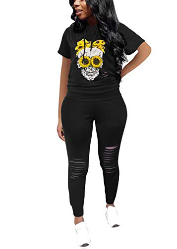 KUBAO Womens Loungewear Hooded Sweatshirt Sets Cute Two Piece Outfits Jogger Outfit Sunflower 2XL