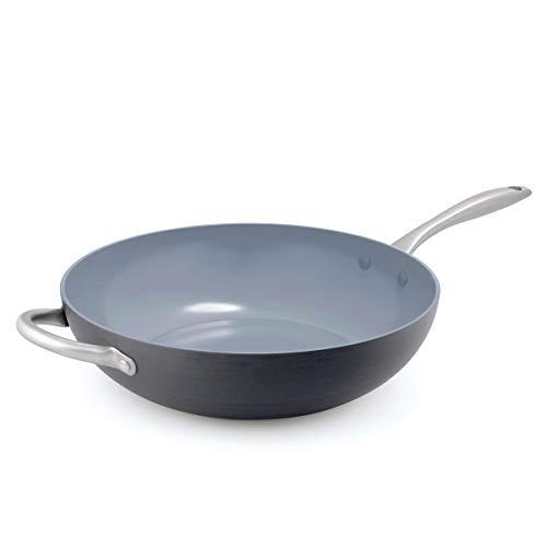 GreenPan Lima 125quot Ceramic NonStick Open Wok with Helper Handle Black  CW0004251