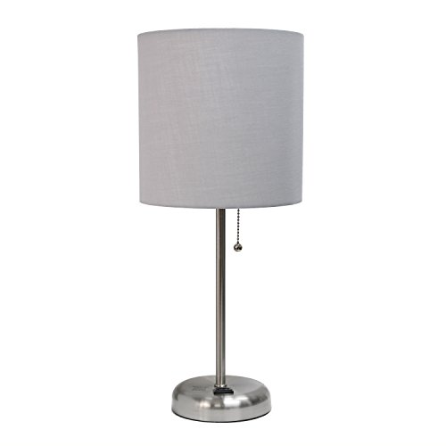 Limelights LT2024-AOW Lámpara de mesa con pantalla de tela y enchufe de carga, Contemporáneo, 19.29, Gray and Brushed Steel