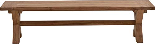 Ploß Massivholzbank Lincoln 180 cm – Gartenbank mit X-Beinen – Sitzbank für 4 Personen – Teakholz-Bank ohne Lehne mit FSC-Zertifikat – Holzbank aus Teak für Terrasse, Balkon & Garten - 2