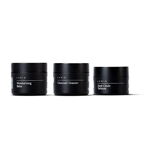 The Recovery Set for Men: 3 Piece Kit to Cleanse, Hydrate, and Revive Your Skin - Includes Moisturizing Balm, Charcoal Cleanser, and Dark Circle Defense - Achieve Your Best Look with Lumin