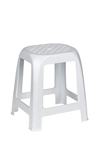 Kreher Hocker aus Kunststoff in Weiß. Sitzfläche im Rattan Design. Ideal für Dusche, Bad und Haushalt. Traglast max. 100 kg.