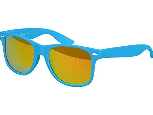 Balinco Hochwertige Nerd Sonnenbrille Rubber im Retro Stil Vintage Unisex Brille mit Federscharnier - 96 verschiedene Farben/Modelle wählbar (Hellblau - Rot/Orange verspiegelt)