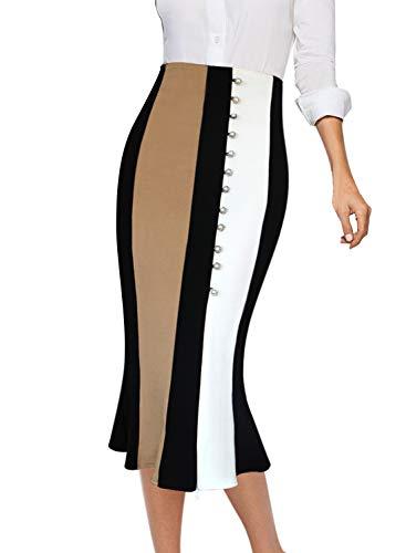 VFSHOW Womens Colorblock High Waist Work Party Mermaid Pencil Midi Skirt 1177 APT XL