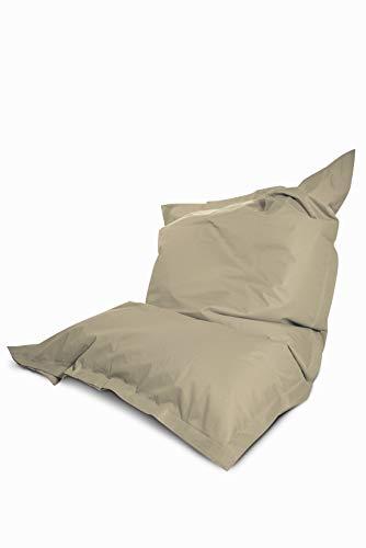 Green Bean © Square XXL Riesensitzsack 140x180 cm - 380Liter EPS Perlen Füllung - PVC Bezug - In- und Outdoor Sitzsack für Kinder und Erwachsene - Sitzkissen Bean Bag Bodenkissen - Beige