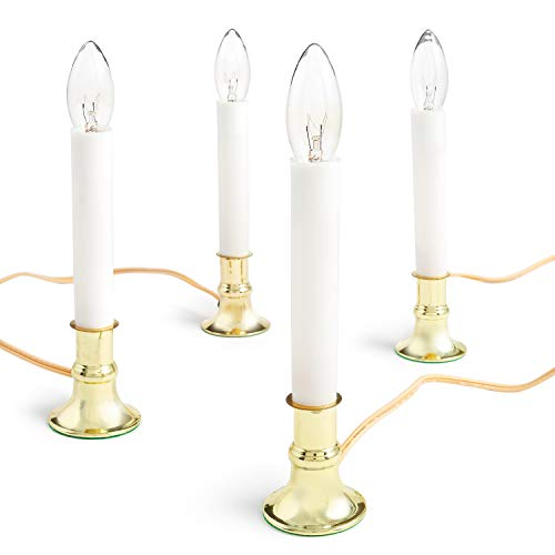 Electric Candle Lamp with Brass Plated Base, Set of 4   Plug in Candlesticks with On/Off Switch and 7-Watt Bulb   9-Inch Colonial Welcome Lights for Windows and Holidays