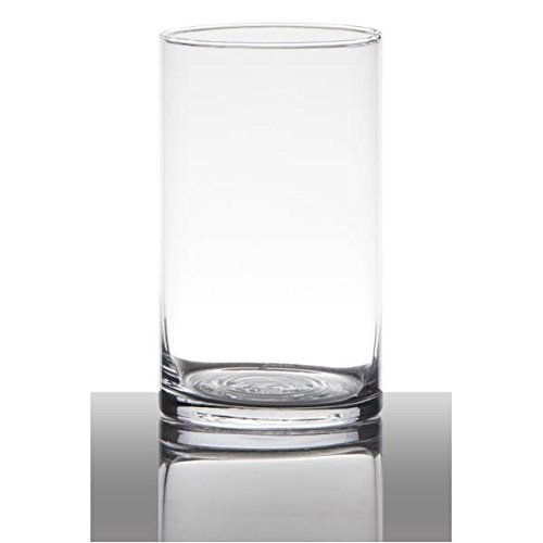 Hakbijl Dekoglas, Vase Zylinder H. 15cm D. 9cm transparent rund Glas