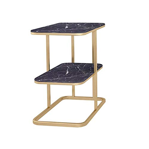 Tables FEI - Bureau d'ordinateur de Chevet de en marbre Basse en Fer forgé d'appoint de canapé 2 tablettes pour Tous Les postes de Travail (Couleur : Noir)