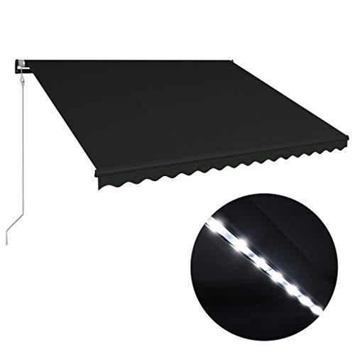 Tidyard Toldo retráctil LED y Sensor de Viento,Toldo para Bar Toldo Terraza Toldos Impermeables Exterior, Gris Antracita 450x300cm