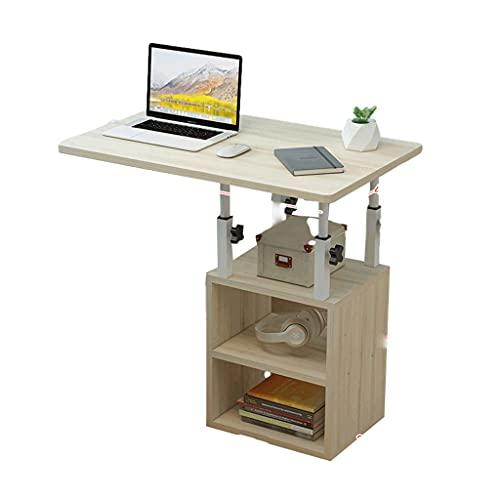Mesa auxiliar de mesa auxiliar con altura ajustable, bandeja de TV en forma de C, con estantes de almacenamiento para sofá, 60 x 40 cm, bandeja de comida