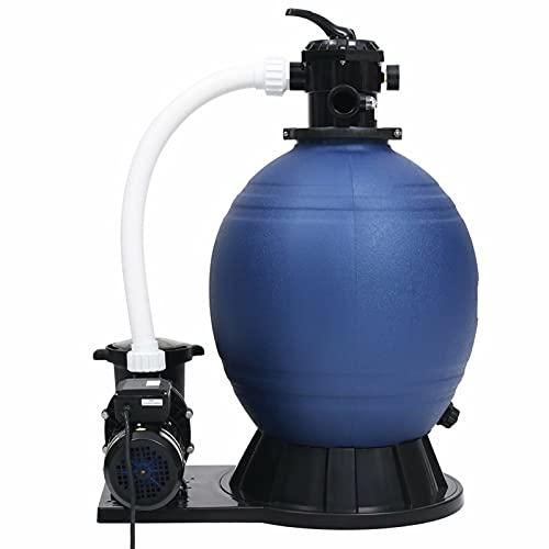 Festnight Filtro de Arena válvula de 7 vías y Bomba de 1000 W Azul y Negro