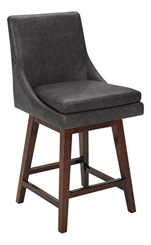 "An Amazon Brand – Stone & Beam Alaina Contemporary Leather High-Back Swivel Seat Counter Stool | 39"" H | Black"