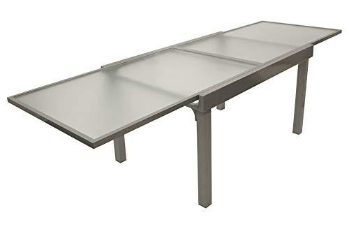 DEGAMO Ausziehtisch Amalfi 135/270x90cm, Aluminium grau + Glas