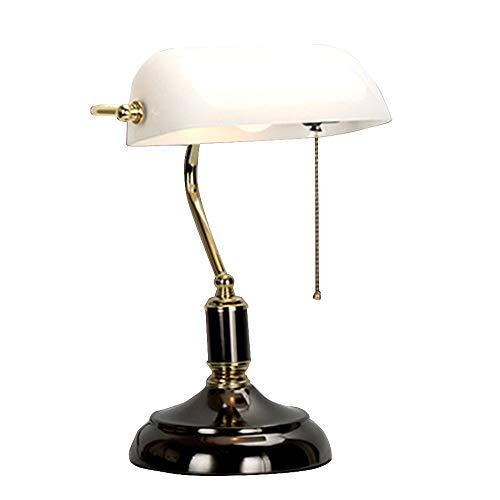 Vintage Bankerlamp Schreibtischlampe Zugschalter Drehen Leselampe Tischlampe Schwarz Weiß Glasschirm Nachttischlampe E27 Licht Wohnzimmer Büro Studieren Kinder 23 * 19 * 38.5CM