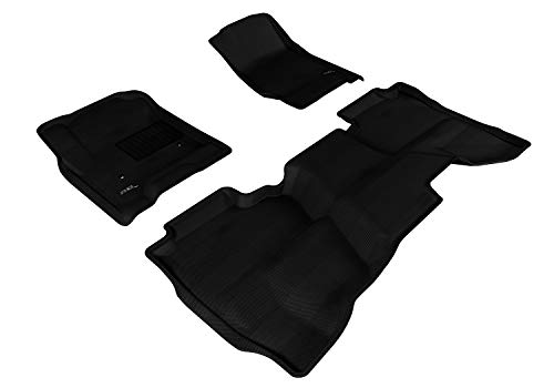 3D MAXpider All-Weather Floor Mats for GMC Sierra 1500 2014-2018 / 2500 3500 HD Double Cab 2015-2019 / Sierra 1500 Limited 2014-2019 Custom Fit Car Floor Liners, Kagu Series (1st & 2nd Row, Black)