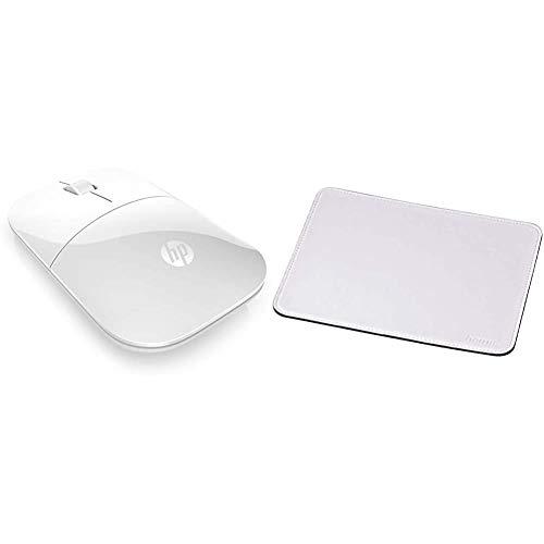 HP Z3700 (V0L80AA) kabellose Maus (1200 optische Sensoren, bis zu 16 Monate Batterielaufzeit, USB Anschluss, Plug&Play) weiß & Hama Mauspad (22 x 18 cm, Office Mousepad in Lederoptik) weiß