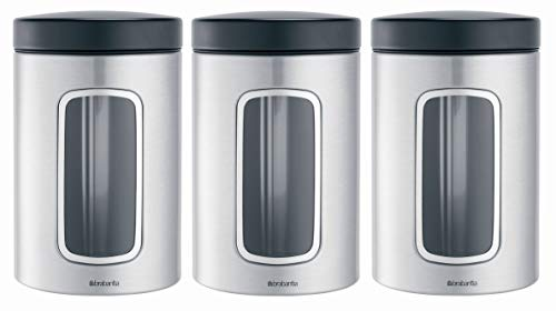 Brabantia 3-Piece Window Canister Set, 1.4-Liter, Matte Steel Fingerprint Proof with Black Lid