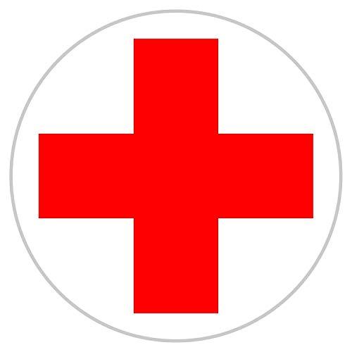 Aufkleber DRK Rotes Kreuz für Erste Hilfe / Verbandskasten 10 cm rund