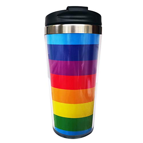 CUAJH Rainbow Travel Coffee Mug Insulated Tumbler with Wrap and Lid, Stainless Lined for Women Men Birthday, 14 OZ