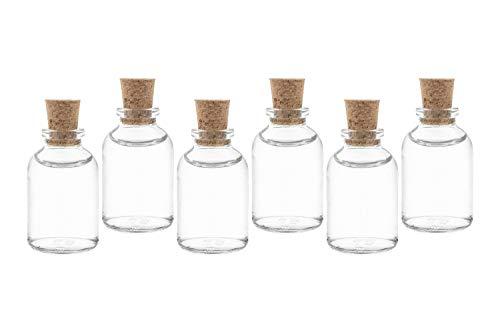 casa-vetro 25 x Mini bottiglie di vetro con tappo, 25 50 100 cc, Vetro, bianco, 25 x 25 ml