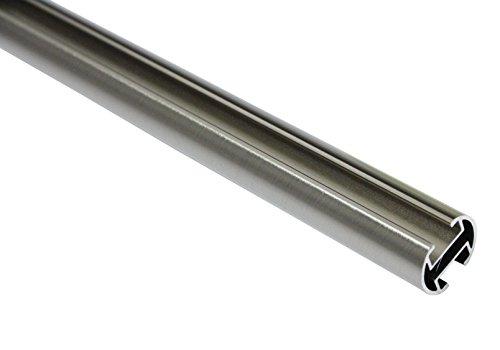 GARDINIA Gardinenstange, Metall-Rohr mit Innenläufen, Serie Chicago, Durchmesser 20 mm, Länge 160 cm, Edelstahl-Optik