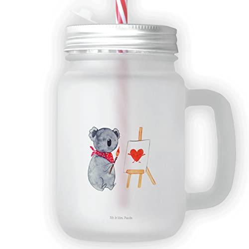 Mr. & Mrs. Panda Jarra de masón, vaso, vaso de beber, vaso con mango, vaso de verano, vaso de conservación, vaso de cóctel, Vaso de bebida Mason Jar Artistas del Koala Ohne Text Hochkant - Color