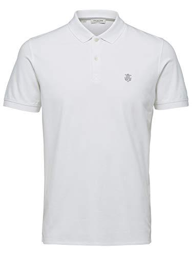 SELECTED HOMME Slharo SS Embroidery Polo W PS Camisa, Blanco Brillante, 5XL para Hombre