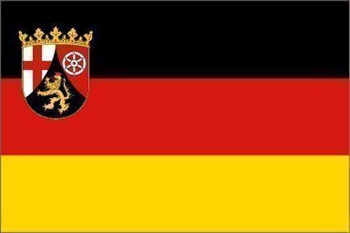 Top Qualität - Flagge RHEINLAND-PFALZ MIT WAPPEN Fahne, 90 x 150 cm, EXTREM REIßFEST, Keine BILLIG-CHINAWARE, Stoffgewicht ca. 100 g/m², sehr robust, extra starke Messing-Ösen - mehrfach umlaufend genäht, ideal als Hissflagge Hissfahne für Innen/Außen, für Haus, Garten zur Deko