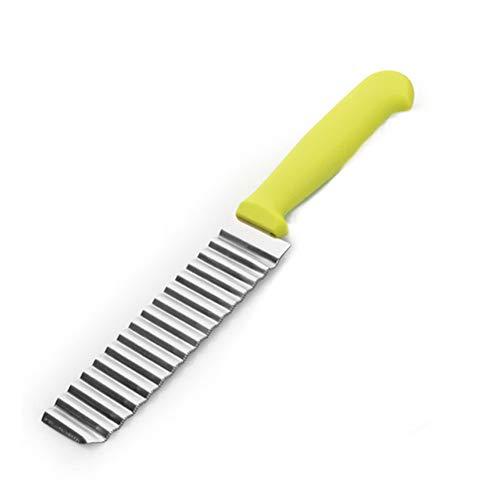 """Xiton 1PC Edelstahl Falten Schneider Gemüseschneider Kartoffelschneider Französisch Fried Falten Wellenschneider effiziente Küchenwerkzeuge 9""""x 1,18"""" Zoll (grün)"""