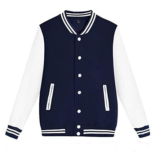 Varsity Jacket Letterman Jacket Baseball Jacket with Long Sleeve Banded Collar Mens Slim Fit Varsity Baseball Jacket (#01-Navy, XL)