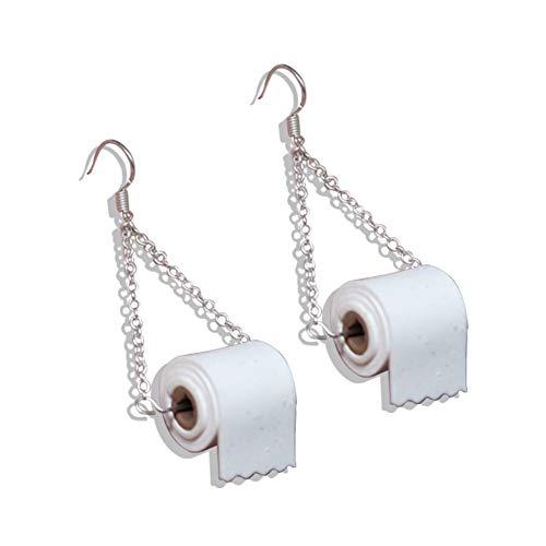 yanqiu 3 paren Vrouwen Grappig Toiletpapier Roll Oorbellen Nieuwigheid Gepersonaliseerde Tissue Haak Dangle Oorbel Papier Handdoeken Kawaii voor Vrouwen Meisjes