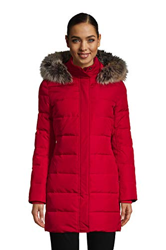 Lands' End WMS Faux Fur Down Coat Rich Red Petite Medium