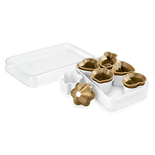 Tescoma Delicia Ausstechformen für Kekse zu Weihnachten 6Stück, Gold/Weiß