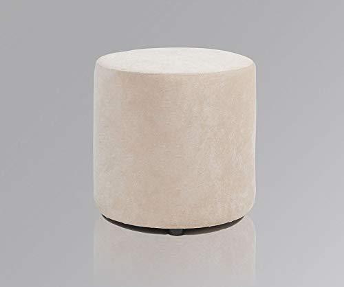 Amaris Elements | Fußhocker 'James' Samt 45xH45cm Sofa Hocker rund Samthocker beige/Creme Sitzhocker für Schminktisch