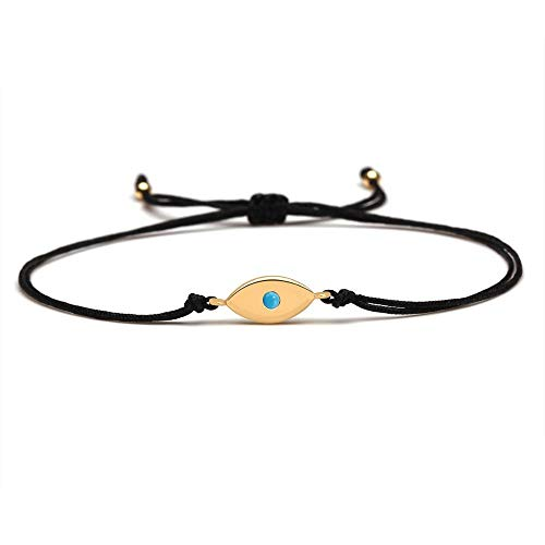 CHIY-GBC Cobre Mal Ojo Suerte Encanta Pulsera Mujeres Moda Lindo Ojo Azul Tirar de cordón Nudo Ajustable joyería Presente