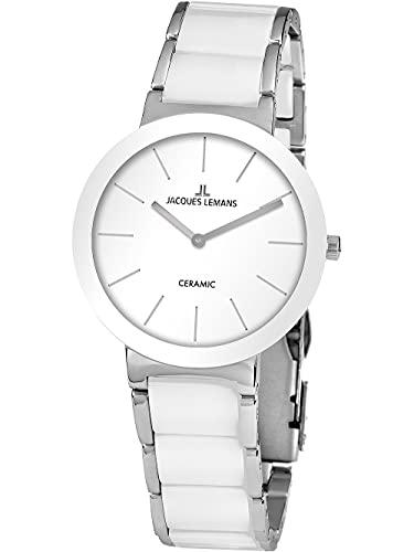 Jacques Lemans Unisex-Uhren Analog Quarz One Size Weiß 32016872