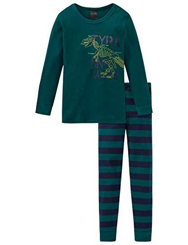 Schiesser Jungen Supersaurus Kn Anzug 3-teilig Zweiteiliger Schlafanzug, Grün (Dunkelgrün 702), (Herstellergröße: 104)